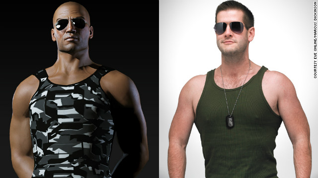 "Marcus Dickinson, right, has dropped 45 pounds and toned up to become more like his online persona, Roc Wieler from ""<a href='http://www.eveonline.com/' target='_blank'>EVE Online</a>."""