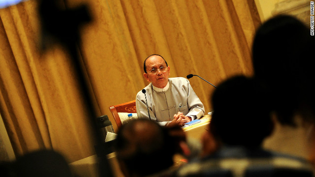 Myanmar President Thein Sein answers reporters' questions during his first news conference since taking power in March 2011.