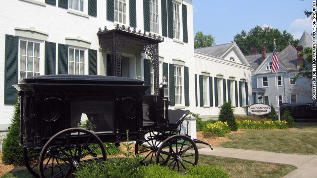In Ohio, tourism officials have created an experience around funeral home history. The Peoples Mortuary Museum in Marietta, Ohio, boasts a collection of classic hearses from past centuries, including this 1895 carriage.