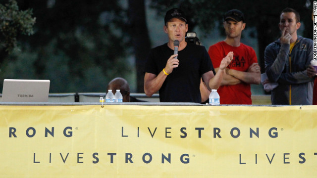 Cyclist Lance Armstrong has been stripped of his seven Tour de France wins and banned from the tournament for life, the International Cycling Union announced Monday, October 22. Pictured, Armstrong addresses participants at The Livestrong Challenge Ride on Sunday. He stepped down as chairman of his Livestrong cancer charity on Wednesday, October 17.