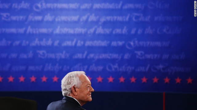 Schieffer appears on stage prior to the debate Monday. He is CBS News' chief Washington correspondent and has been the host of the Sunday morning discussion show &quot;Face the Nation&quot; since 1991.