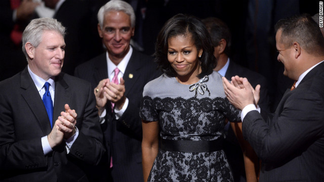 First lady Michelle Obama arrives for the debate.