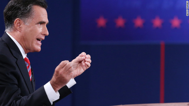 Romney speaks during the debate.