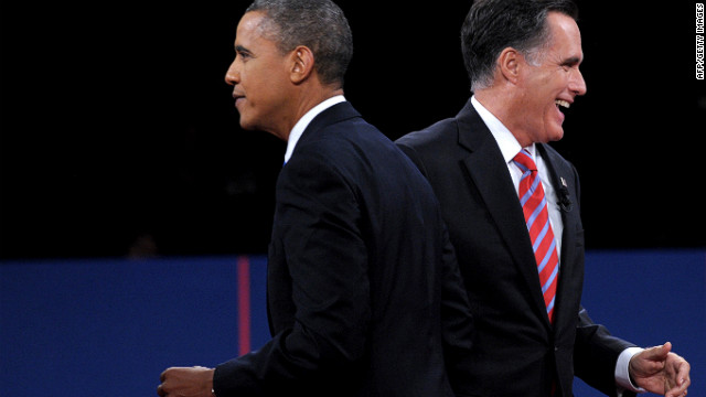 President Barack Obama and Republican presidential candidate Mitt Romney depart the stage after the debate at Lynn University in Boca Raton, Florida, on Monday, October 22. The third and final presidential debate focused on foreign policy. <a href='http://www.cnn.com/2012/10/16/politics/gallery/second-presidential-debate/index.html'>See the best photos from the second presidential debate.</a>