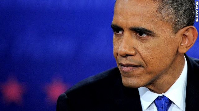 Obama listens during the final presidential debate.