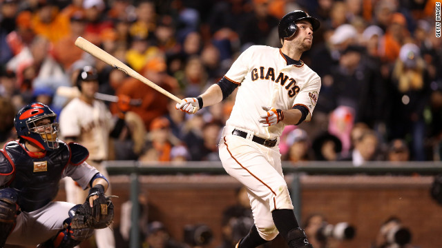 Brandon Belt of the San Francisco Giants hits a solo home run in the eighth inning against the St. Louis Cardinals in Game Seven of the National League Championship Series on Monday, October 22 in San Francisco. The winner of this game will face the Detroit Tigers in the 2012 World Series. &lt;a href='http://www.cnn.com/2012/10/21/worldsport/gallery/nlcs-game-6/index.html' target='_blank'&gt;Look back at Game Six of the NLCS.&lt;/a&gt;