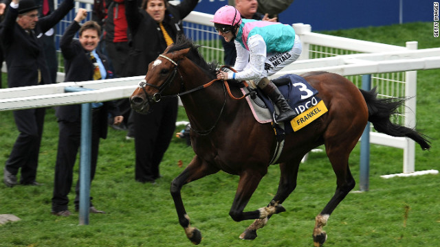 British colt Frankel powers home to take the Champion Stakes at Ascot -- his 14th consecutive win.