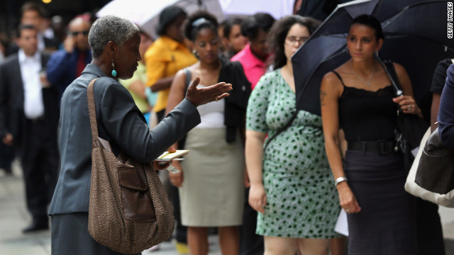 Women attend a career fair in New York. Kirsten Swinth says women's biggest concern is getting fairly paid, family-friendly jobs.