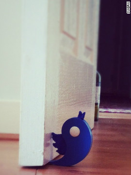 A sugru doorstop molded into the shape of a tweeting bird. Ni Dhulchaointigh says she sees her product as the ultimate tool in the battle against wastefulness.