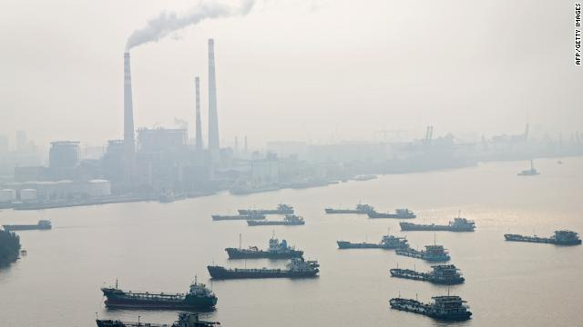 Chimneys of factories are seen in Guangzhou in November 16, 2010.
