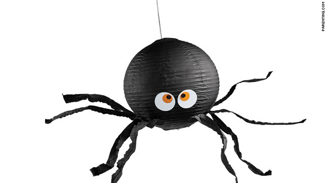 This spider is all about Halloween treats, and a great way to use up extra tissue paper.
