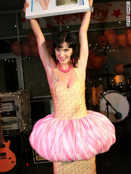 Perry wears this unconventional number to her Los Angeles record release party in June 2008.