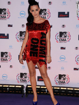 No stranger to making a statement at the MTV Europe Awards, Perry wears a shiny red ticket dress in November 2010 in Madrid, Spain.