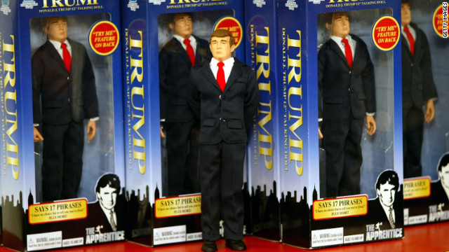 "The new Donald Trump 12-inch talking doll on display at the Toys ""R"" Us store in New York City on September 29, 2004."