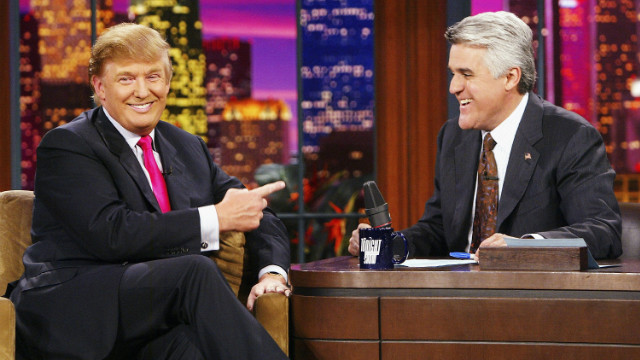 "Trump appears on ""The Tonight Show with Jay Leno"" at the NBC Studios in Burbank, California, on September 7, 2004."