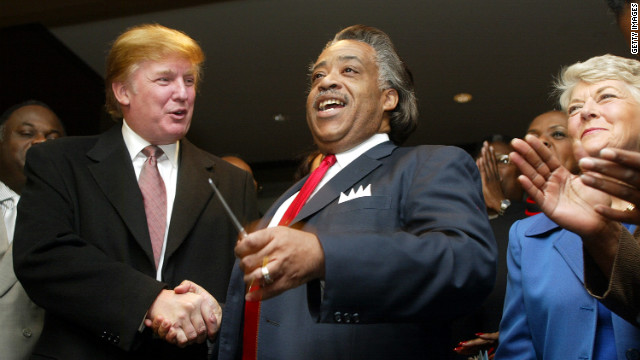 Trump with the Rev. Al Sharpton, center, and Geraldine Ferraro, right, attend a ribbon cutting ceremony for Sharpton's National Action Network Convention in 2002 in New York City.