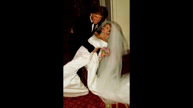 Trump dips Marla Maples after the couple married in a private ceremony at the Plaza Hotel in New York City on December 20, 1993. Trump is the chairman and president of the Trump Organization.