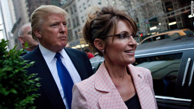 Former U.S. vice presidential candidate Sarah Palin leaves Trump Tower in New York City following a dinner meeting with Trump on May 31, 2011.