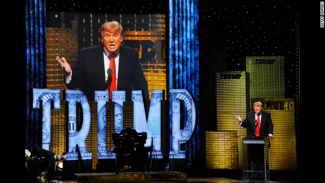 Trump speaks at the Comedy Central Roast of Donald Trump at the Hammerstein Ballroom in New York City on March 9, 2011.