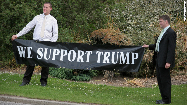 Trump supporters stand outside the Aberdeen Exhibition and Conference center in 2008 where Trump attends a public inquiry about his plans to build a golf resort in Aberdeenshire, Scotland.