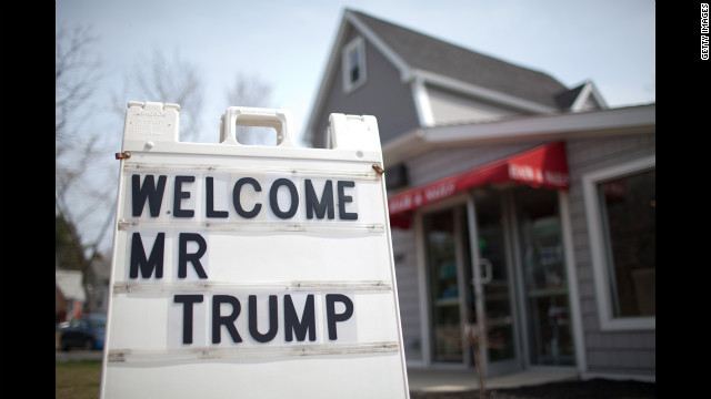 A welcome sign for Trump stands outside a hair salon in Portsmouth, New Hampshire, on April 27, 2011.