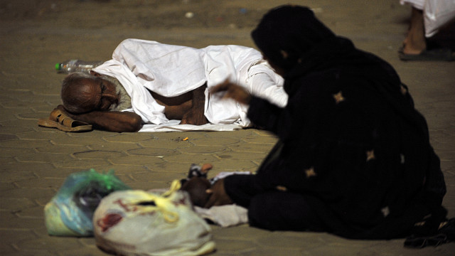 Pilgrims rest outside near Mount Arafat on Wednesday night.