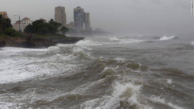 Waves hit the coast in Santo Domingo, Dominican Republic, on Wednesday. 