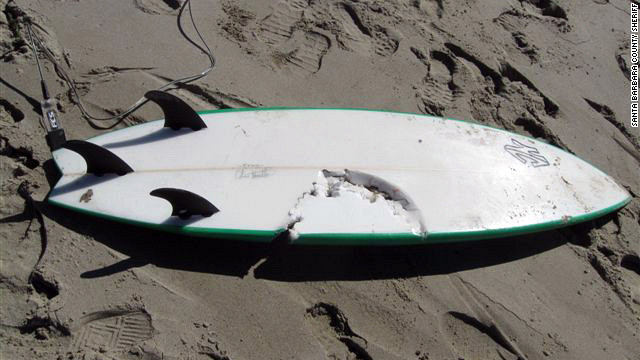 Officials released a photo showing teeth marks on a surf board made by a shark that killed a surfer in California this week.