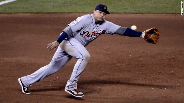 Miguel Cabrera of the Detroit Tigers dives for the ball to make a stop in the fourth inning.