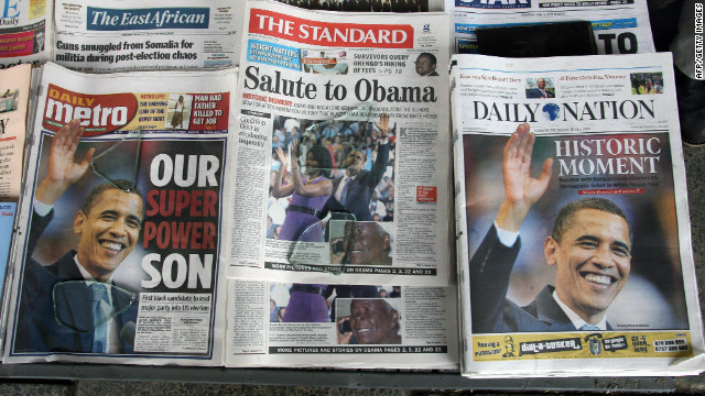 One newspaper editor told Mathiu the Obama fervor has died down over time, and that Obama spends less time on Kenyan newspapers' front pages than four years ago. Here, papers announce Obama's victory in the Democratic primary race of 2008.