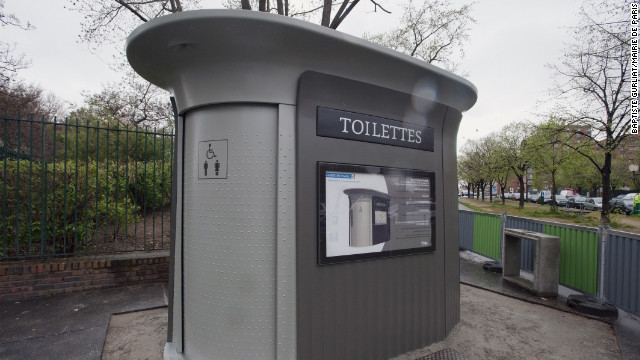 Public restrooms are a serious matter to tourists. These space-age &quot;sanisettes&quot; are scattered around Paris and free to use. 