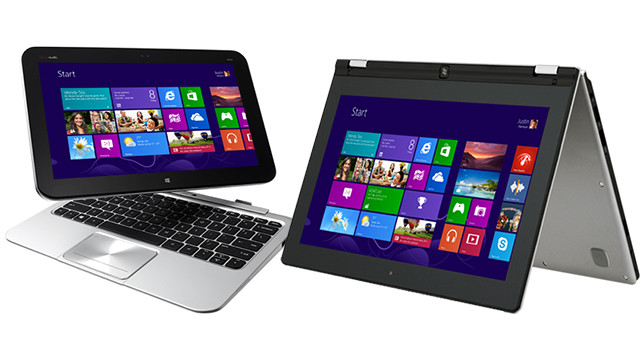 Microsoft pushed three big new products in 2012: Windows 8, Windows Phone 8 and its Surface tablet. This is Windows 8, the company's bold new operating system, running on an HP Envy x2, left, and a Lenovo IdeaPad Yoga, right.