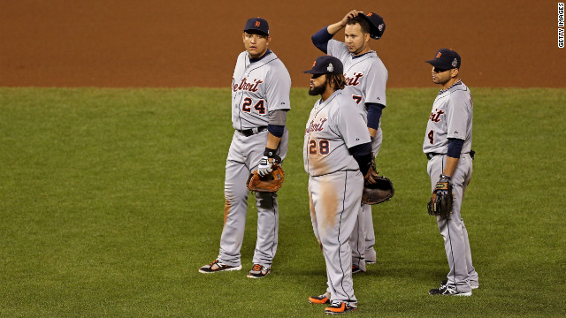 From left to right, Miguel Cabrera, Prince Fielder, Jhonny Peralta and Omar Infante of the Detroit Tigers look on during a pitching change in the seventh inning against the San Francisco Giants during Game 2 of the Major League Baseball World Series at AT&T Park in San Francisco on Thursday, October 25. <a href='http://www.cnn.com/2012/10/24/worldsport/gallery/world-series-game-1/index.html' target='_blank'>See the best photos of Game 1 here.</a>