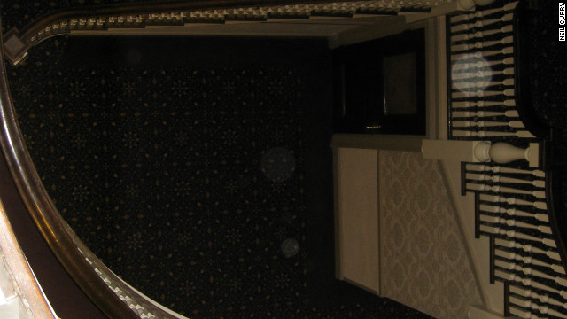 The mysterious 'orbs' captured by Neil Curry's family camera in a stairwell at the Stanley Hotel.