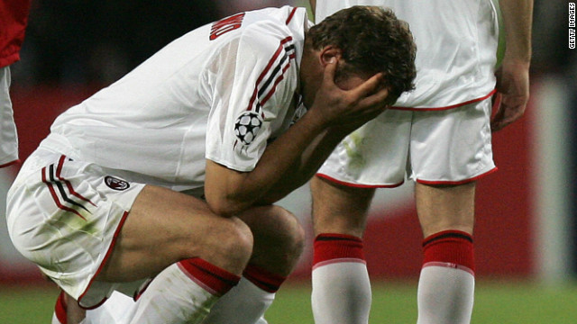"But even Brazil's collapse cannot match AC Milan's ""achievement"" in the 2005 European Champions League final against Liverpool. Carlo Ancelotti's Milan blew their English opponents out of the water in the first half, racing into a 3-0 lead. But, in six incredible second-half minutes, Rafeal Benitez's Liverpool launched one of the greatest comebacks in the history of sport, scoring three times to level the match. Liverpool held on grimly to force a penalty shootout, with Jerzy Dudek's save from Andriy Shevchenko handing Liverpool a most unlikely success."