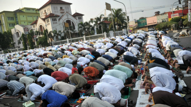Muslims attend prayers in Jakarta, Indonesida on Friday, ahead of the Muslim feast of Eid al-Adha.