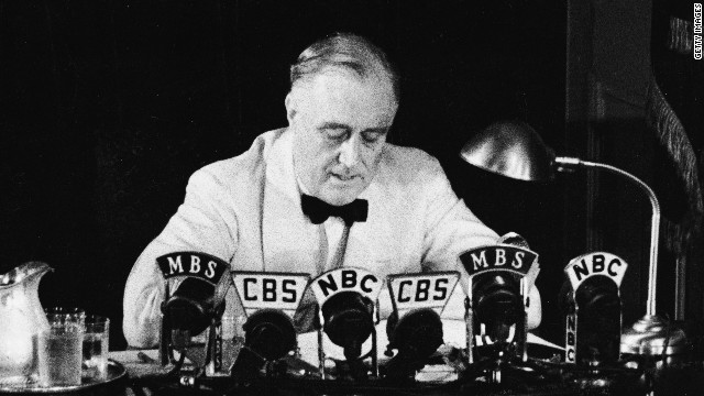 Franklin D. Roosevelt declares an &quot;unlimited&quot; national state of emergency in a radio broadcast on May 27, 1941, in response to German aggression during World War II.