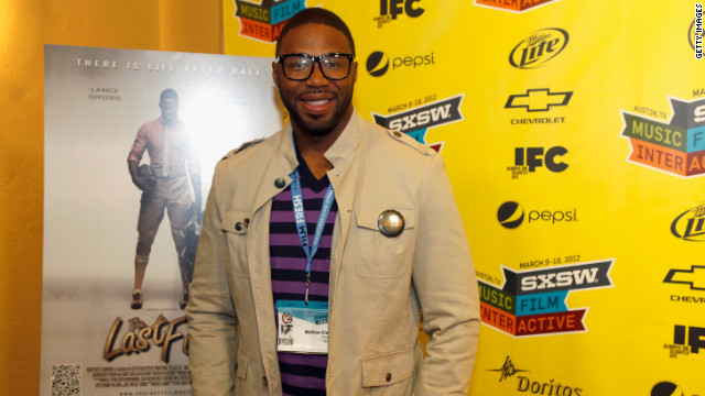 Filmmaker Matthew Cherry stops on the red carpet at a SXSW 2012 screening of his first feature film,
