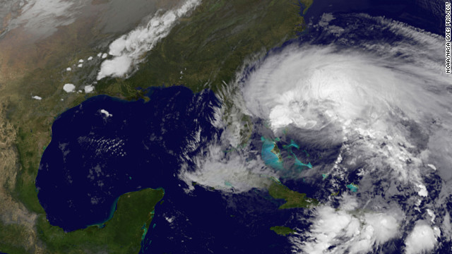 A satellite image of Hurricane Sandy from the National Oceanic and Atmospheric Administration (NOAA) taken on Friday, October 26.