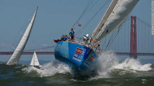 A vessel arrives in San Fransisco on leg nine of the 13-leg race. Sailors can join for just one segment or the full year-long circumnavigation.
