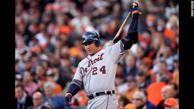 Miguel Cabrera of the Detroit Tigers warms up in the on deck circle before his first at bat.