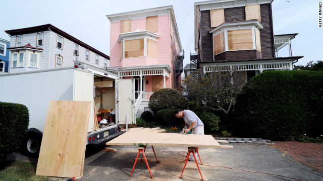 Burt Myrich boards up a home in preparation for Hurricane Sandy on Saturday, October 27, in Cape May, New Jersey. New Jersey Gov. Chris Christie has ordered mandatory evacuations of the barrier islands by 4 p.m. Sunday, including the Atlantic City casinos, as Hurricane Sandy threatens the East Coast.