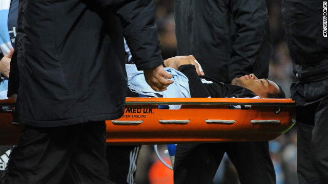 Swansea City's Dutch goalkeeper Michel Vorm was taken from the pitch on a stretcher after suffering a groin injury when he failed to stop Tevez's long-range effort in the 61st minute.