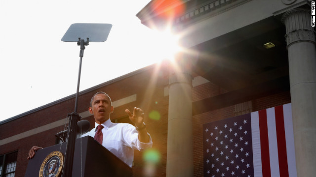 Obama delivers remarks during a campaign rally at Elm Street Middle School in Nashua, New Hampshire on Saturday, October 27. With 10 days to go before the presidential election, Obama and his opponent, former Massachusetts Gov. Mitt Romney, are criss-crossing the country from one swing state to the next in an attempt to sway voters.