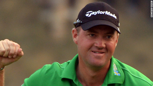 Peter Hanson celebrates clinching the Shanghai Masters by a single shot from Rory McIlroy.