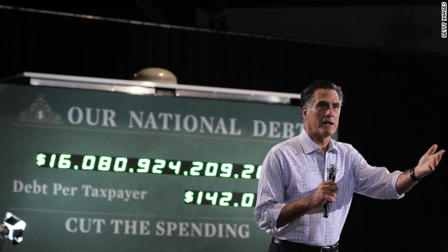John Avlon says Mitt Romney, pictured at a September rally, talks about cutting the U.S. debt, but President Obama's plan is closer to what needs to be done.