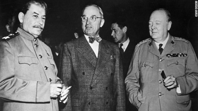 Harry Truman stands between Sir Winston Churchill, right, and Soviet leader Joseph Stalin at a meeting in Potsdam, Germany, in 1946 after World War II ended.