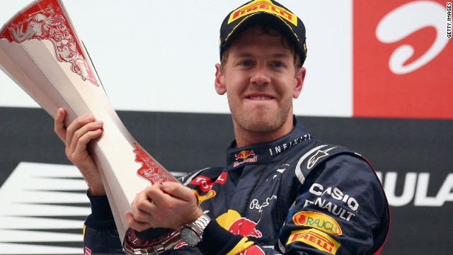 Sebastian Vettel was winning in India for the second straight year for Red Bull.