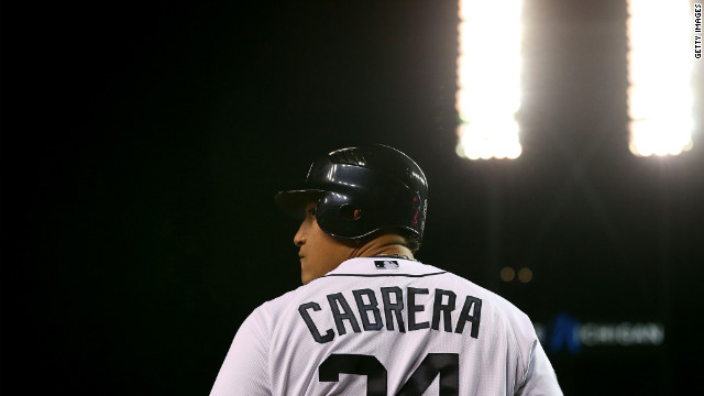 Miguel Cabrera of the Tigers warms up before his at bat against Max Scherzer of the Tigers in the first inning.
