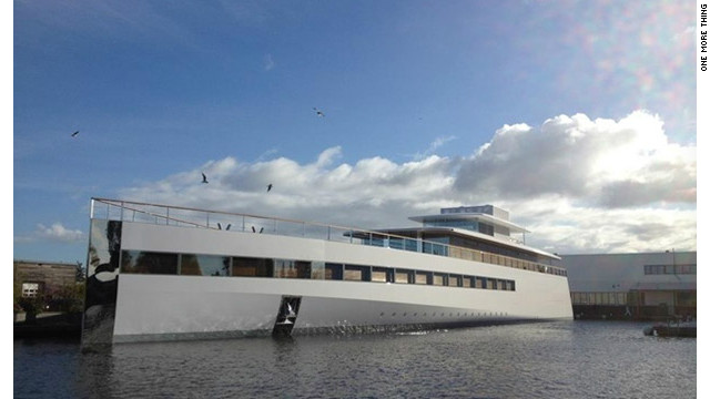 Late Apple co-founder Steve Jobs' yacht was unveiled in a Dutch shipyard on Sunday and christened 